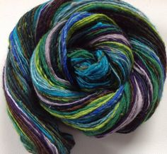 Handspun worsted dk weight single yarn  3 Ozs 300 yards approx Chameleon Peacock