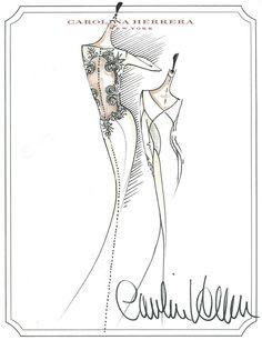Carolina Herrera's sketch for the wedding gown Bella's character wore in 'Breaking Dawn'