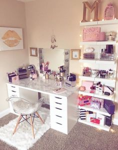 ✨ gave my pretty little vanity a facelift with some white marble vinyl & how perfect is the /houseoflashes/ tinkerbell chest for holding all of my mini palettes? welcome to my haven ✨ {clearly i like to hoard & display all of my product boxes. Ikea Closet Shelves, Ikea Lack Shelves, Lack Shelf, Wall Shelves, Makeup Vanity Decor, Makeup Rooms, Makeup Desk, Marble Vinyl, Acrylic Chair