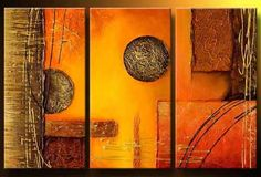 This is a wonderful colorful painting direct from the artist. We use only highest quality Winsor & Newton art materials and painted on acid free museum quality canvas. Painting Size: (total 3 pcs, about (total 3 pcs, about (total 3 pcs, about 3 Piece Canvas Art, 3 Piece Art, Large Painting, Texture Painting, Orange Wall Art, Ceramic Wall Art, Commercial Art, Colorful Paintings, Kandinsky