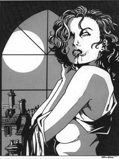 """""""Vampire By Night"""" Ink and zip-a-tone on paper © 1995 Talon Dunning -This was done for the Auburn University newspaper, however, as I recall, it was rej. Vampire By Night Female Vampire, World Of Darkness, Horror, Action, Deviantart, Night, Gallery, Pictures, Image"""