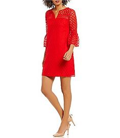 London Times Bell-Sleeve Lace Shift Dress