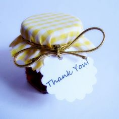 100 Yellow and White Gingham Jam Jar Covers with elastic and Thank You Card - Wedding Favor jelly, jar, honey. $55.00, via Etsy.