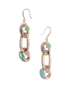 Treat yourself to a glamorous celebration of multi-colored gems scattered across gold-plated links. About the Earrings: Total length is 2.25 and width is .5. ONLY@JM
