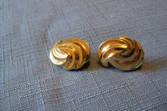 Vintage Earrings Monet Gold Tone Swirl Bridal Party Jewelry Jewellery Wedding…