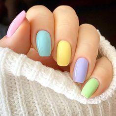 Ombré Collection (C) Gel Manicure Nails, Cute Gel Nails, Glow Nails, Short Gel Nails, Cute Spring Nails, Summer Acrylic Nails, Best Acrylic Nails, Pastel Nails, Fancy Nails