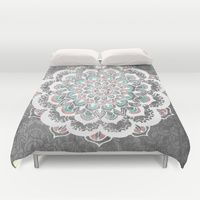 Duvet Covers featuring Pastel Floral Medallion on Faded Silver Wood by Tangerine-Tane