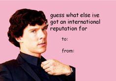 "Community Post: 21 Valentines For The ""Sherlock"" Fan In Your Life Bad Valentines, Funny Valentine, Valentine Day Cards, Pick Up Lines, Comic Sans, Wholesome Memes, Johnlock, Baker Street, Martin Freeman"