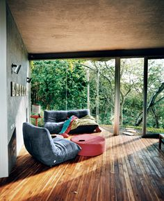 Living room with a beautiful view of nature
