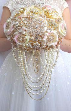 Silk flower brooch bouquet of rose gold blush by MemoryWedding Wedding Brooch Bouquets, Bride Bouquets, Bridesmaid Bouquet, Bridesmaids, Simple Wedding Bouquets, Wedding Flowers, Pink Bouquet, Bridal Boutique, Wedding Accessories