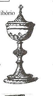  ÂMBULA, CIBÓRIO OU PÍXIDE - É um recipiente para a conservação e distribuição das hóstias aos fiéis.