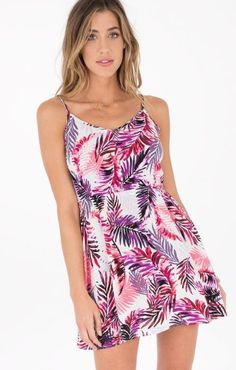 This fun and colorful palm front tank dress has a slight V-neck, a cinched waist for a fit and flare look, and elastic in the upper back for a stretchy fit. Tropical Dress, Bootie Sandals, High End Fashion, Sweater Shirt, Purple Dress, Tank Dress, Short Skirts, Fit And Flare, High Tops