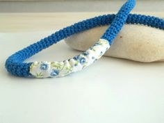 Crocheted necklace  blue crochet jewelry navy blue by Loulalalou, $20.00