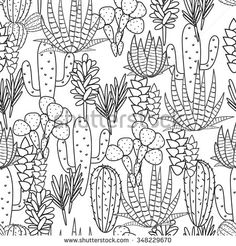 Succulents Cacti Plant Vector Seamless Pattern. Botanical Black ...