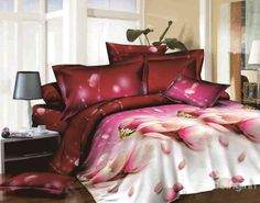 New Arrival Beautiful Pink Flowers Print 4 Piece Bedding Sets