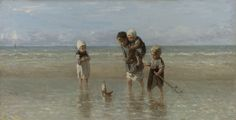 This delightful scene contains a moral. These children from a poor fishing village with their shabby clothes and broken toys, are playing out their own future. The oldest boy carries the burden of his family on his shoulders, while the boat represents the harsh life at sea. Jozef Israëls first painted the theme in 1863. It was hugely popular and he often repeated it. Kinderen der zee, Jozef Israëls, 1872. #Rijksmuseum