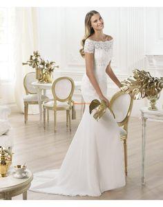 Frühling Spitze Reißverschluss Brautkleider 2014
