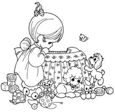 Mother nursing a baby in crib coloring page