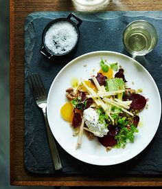 Australian Gourmet Traveller recipe for herb panna cotta with beetroot, freekeh and walnut dressing from Ten Minutes by Tractor. Chef Recipes, Seafood Recipes, Salad Recipes, Salad Presentation, Panna Cotta, Roasted Walnuts, Roasted Beets, Baked Goat Cheese, How To Grill Steak
