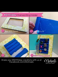 DIY Framed Ring or earring holder Fun Crafts, Diy And Crafts, Arts And Crafts, Craft Projects, Projects To Try, Craft Ideas, Diy Ideas, Diy Jewelry Holder, Jewelry Box
