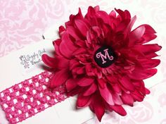 Pink Monogrammed Flower with crocheted headband!  Giggly Girl Bowtique on Facebook!