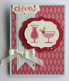 Stampin' Up! Happy Hour Stamp Set...Cherry Cobbler, Bashful Blue and Very Vanilla help make this a great Happy Hour Card!!!