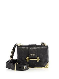 6b50b5de3bc7 Prada Cahier Notebook Python Shoulder Bag - Black Prada Purses