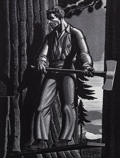 Rockwell Kent  The Faller 1942 Wood Engraving
