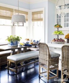 Designer Lee Ann Thornton covered this banquette in wipeable faux leather—Weathered Leather by Innovations.   - HouseBeautiful.com