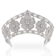 Yanes Diamond Tiara. A tiara made for the wedding of Cristina Yanes. A gem of white flowers studded with brilliant diamonds (in the kokoshnik shape).