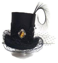 Steam punk Goth Victorian Stove Pipe silk top hat by RococoBarocco, $44.00