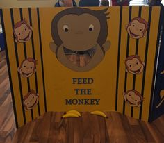 Feed the monkey game for Curious George birthday party with a handmade painted monkey (the big one) on a tri-fold posterboard with felt bananas ordered from Etsy Curious George Party, Curious George Games, Curious George Birthday, 1st Birthday Party Games, Monkey Birthday Parties, Baby 1st Birthday, Birthday Ideas, Safari Party, Kids Party Themes