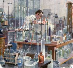 Chemical Laboratory, Heinrich Kley, Jugend magazine, 1922.