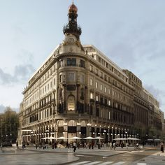 Future Forur Seasons hotel after historic buildings restoration in Madrid.