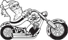 Santa Motorcycle Shirt in Youth Sizes - Available Personalized! Cute for Christmas Pics with Santa Santa Coloring Pages, Christmas Coloring Pages, Adult Coloring Pages, How To Draw Santa, Christmas Colors, Christmas Stuff, Christmas Decor, Halloween Entertaining, Silhouette Projects