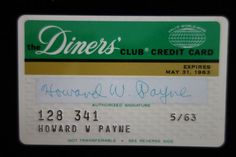 Diners Club Early Very Early Plastic Expires 31 May 1963