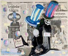 Salvador Diaz's paintings on newspaper