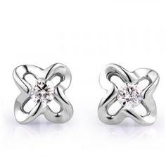 Flower Shape Solitaire Diamond Earrings on 10K White Gold