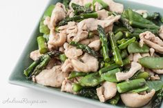 Chicken Stir-Fry with Asparagus and Snow Peas, a quick and delicious spring dinner.