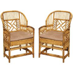 Pair of Vintage Rattan Armchairs c. 1960 | From a unique collection of antique and modern armchairs at http://www.1stdibs.com/furniture/seating/armchairs/
