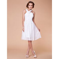 Lanting+Bride®+A-line+Plus+Size+/+Petite+Mother+of+the+Bride+Dress+Knee-length+Sleeveless+Chiffon+with+Draping+/+Flower(s)+/+Criss+Cross+–+USD+$+79.99