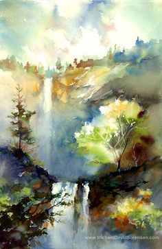 Waterfall Painting Print. Landscape Watercolor Art by Michael David Sorensen. Wet on Wet Watercolor Artwork. Trees. Color.