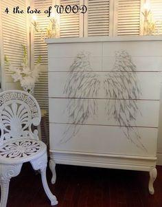 Shabby Chic Tall Dresser - angel wings design