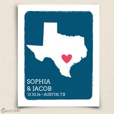 Personalized Texas state art print - first anniversary wedding housewarming gift by Peachwik