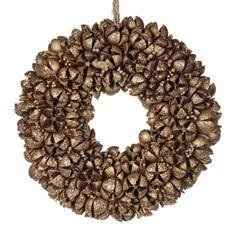 Coronita de Craciun Pod 23 cm - Maro/Auriu Pod, Black Eyed Peas, Burlap Wreath, Best Sellers, Wreaths, Christmas, Winter, Corona, Xmas