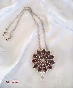 Pendant Superduo bead BeadworkWine WhiteEye by BeautyGlamourLuba, $53.00