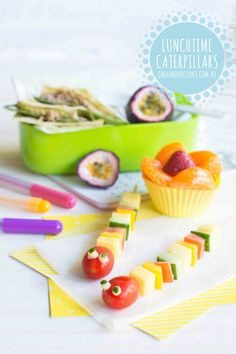 {NEW} LUNCHTIME CATERPILLARS & FREE eBOOK:  Lunchtime Caterpillars  using Bega Farmers' Tasty Natural Cheese Sticks. Click through for your free back to school e-book: Complete 4-week lunch box meal planner. Enjoy x