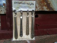 repurposed silverware | Repurposed silverware tablecloth weights | Silverware