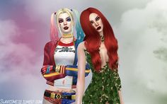 Harley Quinn and Poison Ivy in The Sims 4