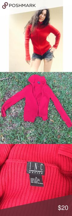Red sweater small INC Great sweater.  Zip up collar, ribbed INC International Concepts Sweaters Cardigans